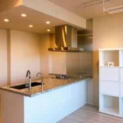 リビングと一体感があり、且つ開放感もあるオープン型の対面式キッチンキッチン